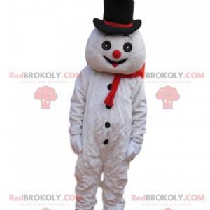 Mascote boneco de neve divertido com chapéu preto -
