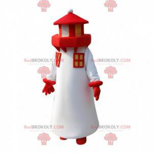 Maskot bílý a červený maják. Kostým majáku - Redbrokoly.com