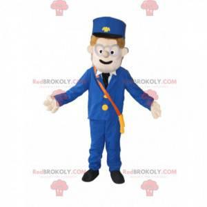 Schneemann-Maskottchen mit Kepi und blauem Anzug -