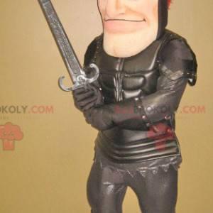 Knight mascot with black armor - Redbrokoly.com