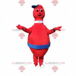 Sehr lächelndes rotes Bowlingmaskottchen mit einer Kappe -