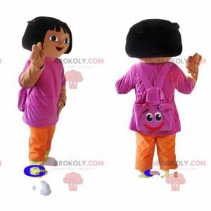 Mascote Dora the Explorer com sua mochila engraçada -