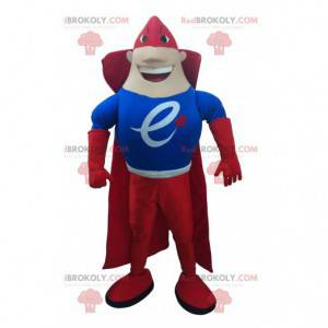 Maskot superhrdiny oblečený v červené a modré barvě -