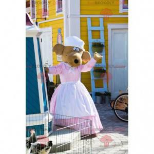 Hnědý sobí pes maskot šaty se zástěrou - Redbrokoly.com
