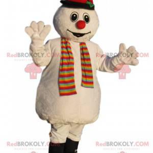 Mascotte del pupazzo di neve con un cappello nero -
