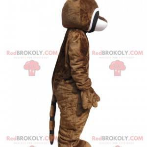 Mascota de mapache marrón con una mazorca de maíz -