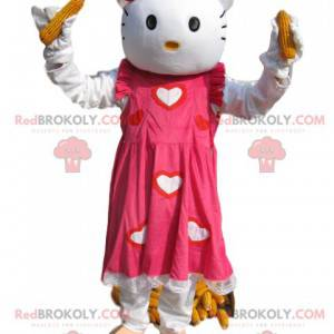 Mascota de Hello Kitty con un hermoso vestido rosa y corazones