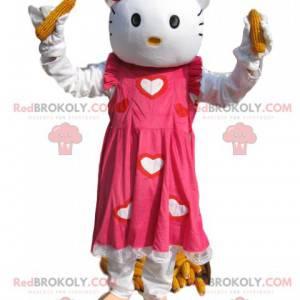 Maskot Hello Kitty s krásnými růžovými šaty a srdíčky -