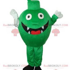 Maskottchen kleines grünes Monster mit Zähnen und einem großen