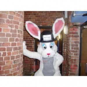 Bílý a šedý králičí maskot s velkým kloboukem - Redbrokoly.com