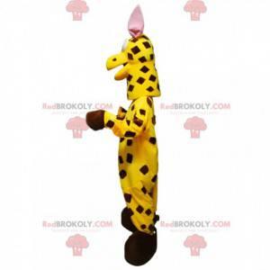 Giraffenmaskottchen mit einem originalen leuchtend gelben
