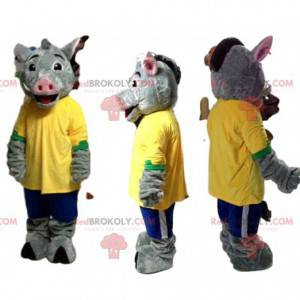 Graues Wildschweinmaskottchen mit gelbem Trikot und blauen