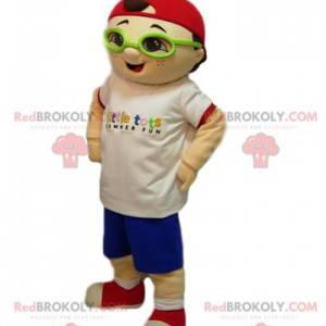 Malý chlapec maskot s červenou čepicí - Redbrokoly.com