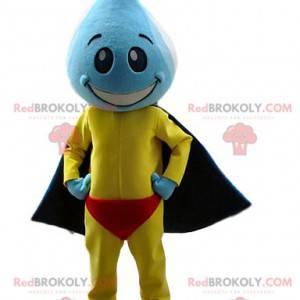 Mascote do super-herói com a cabeça em forma de gota d'água -