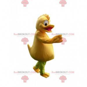 Mascote de pato amarelo cômico com uma linda crista -