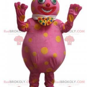 Wacky pink snowman mascot with yellow dots - Redbrokoly.com