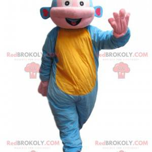 Blaues und gelbes Affenmaskottchen - Redbrokoly.com