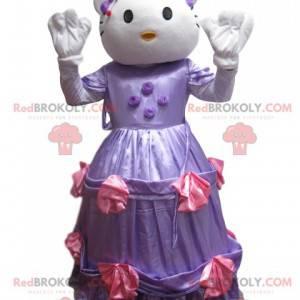 Mascotte Hello Kitty met een paarse satijnen jurk -