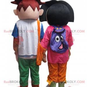 Dora the Explorer og Diego Mascot Duo - Redbrokoly.com