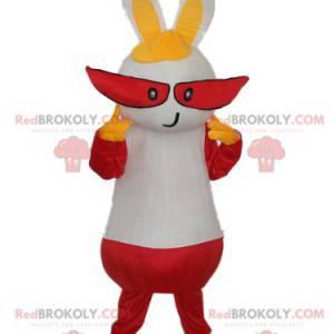 Hvit kaninmaskot med lange røde øyne - Redbrokoly.com