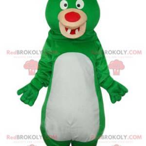 Legrační zelený a bílý medvěd maskot s červeným nosem -