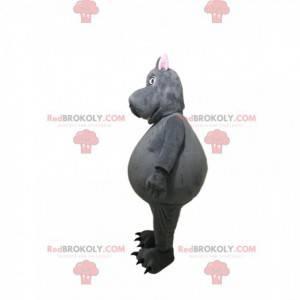 Grijze nijlpaardmascotte met een grappig gezicht -