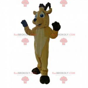 Very smiling yellow deer mascot with brown antlers. -
