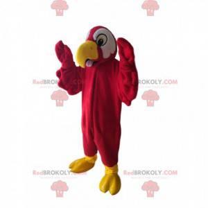 Rotes Papageienmaskottchen mit einem schönen gelben Schnabel -