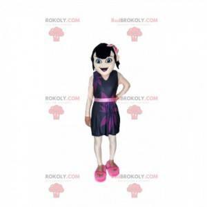 Maskot tmavovláska s fialovými šaty - Redbrokoly.com