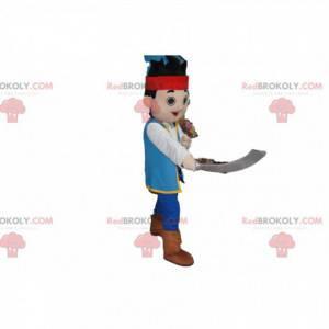 Kleines Piratenmaskottchen mit einem Schwert - Redbrokoly.com