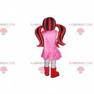 Maskot upíří dívka se dvěma červenými a černými přikrývkami -