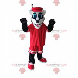 Legrační maskot jezevce s červeným sportovním oblečením -