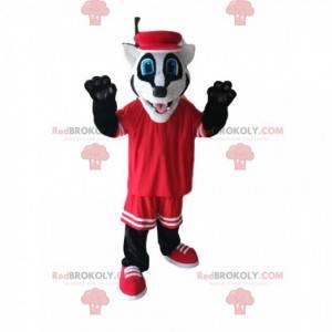 Mascota divertida del tejón con ropa deportiva roja -