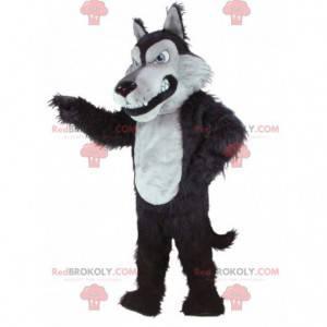 Alles haarige schwarz-weiße Wolf Maskottchen - Redbrokoly.com