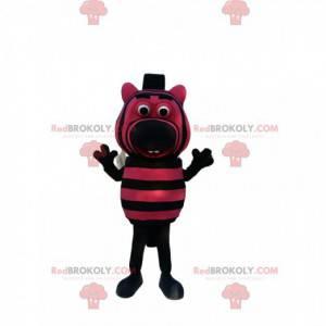 Mascot pequeña cebra negra y fucsia. Disfraz de cebra pequeña -