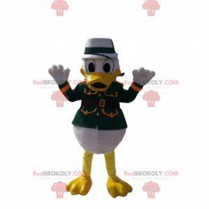 Mascote Donald com uma jaqueta de coronel verde e um chapéu -