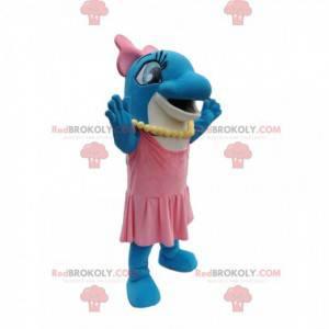 Mascotte vrouwelijke dolfijn met een roze jurk - Redbrokoly.com