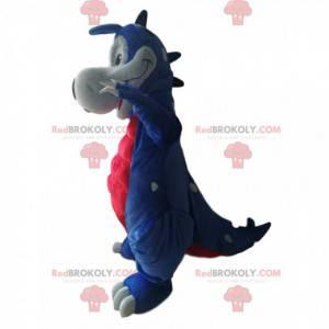 Mascote de dinossauro azul e vermelho. Fantasia de dinossauro -