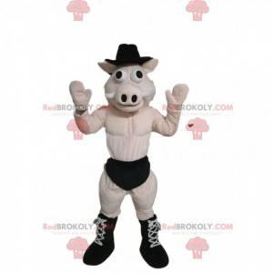 Schweinemaskottchen in Unterwäsche mit einem schwarzen Hut -