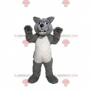 Aggressive gray and white wolf mascot - Redbrokoly.com