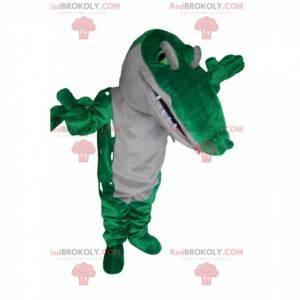 Zelený a bílý krokodýlí maskot. Krokodýlí kostým -