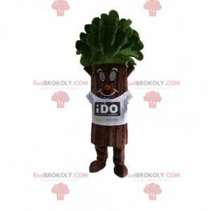 Tree mascot with beautiful green foliage and a white t-shirt -