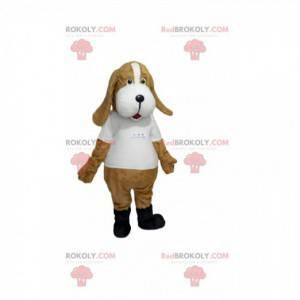 Beiges Hundemaskottchen mit weißem Trikot - Redbrokoly.com