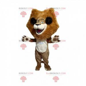 Super šťastný lev maskot s velkou hřívou - Redbrokoly.com