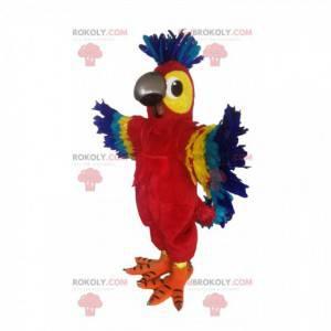 Mascote papagaio multicolorido super alegre - Redbrokoly.com