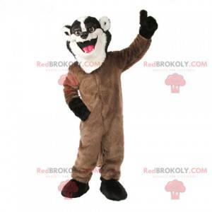Maskott av vaskebjørnskunk brun hvit og svart - Redbrokoly.com