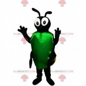 Schwarzes Insektenmaskottchen mit gelben Flügeln -