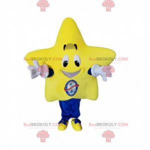 Mascotte d'étoile géante avec un grand sourire - Redbrokoly.com
