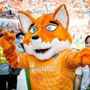 Orange and white fox mascot with blue eyes - Redbrokoly.com