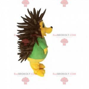 Mascote ouriço amarelo muito fofo com picos marrons -
